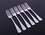 A matched set of six George III Old English Thread pattern sterling silver table forks