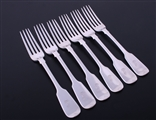 A matched set of six antique fiddle pattern sterling silver table forks
