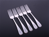 A set of five Scottish George III Old English pattern sterling silver table forks