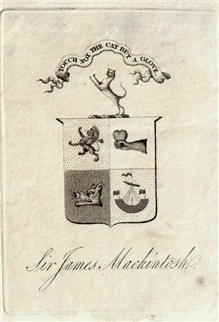 A 19th century armorial bookplate for Sir James Mackintosh