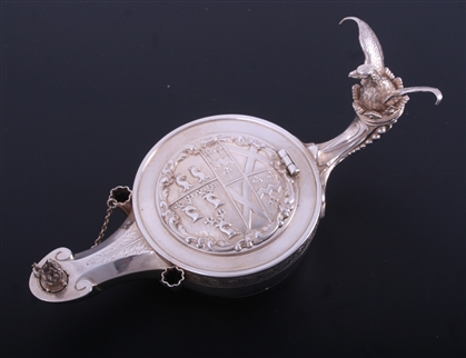 A rare and unusual 19th century French silver inkstand designed as a Roman lamp