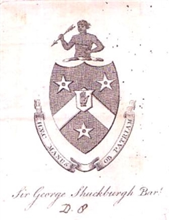 An 18th century armorial bookplate for Shuckburgh