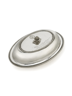 A fine and historic pair of presentation sterling silver entree dishes and covers