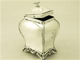 A fine and impressive, antique Georgian English sterling silver tea caddy