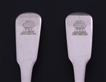 NELSON: Rare pair of George III fiddle pattern sterling silver dessert spoons