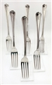 Antique Victorian Sterling Silver Old English Thread Pattern Set of Six  Dessert Forks 1849