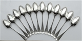 Antique Victorian Sterling Silver Set Twelve Old English Pattern Tablespoons 1882
