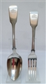 Antique Sterling Silver Victorian Fiddle Pattern Dessert Spoon and Fork 1848