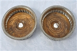 Pair Antique George III Sterling Silver Coasters for bottles or decanters 1814