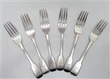 A Set of 6 Antique Sterling Silver Fiddle Pattern Dessert Forks 1837/1841