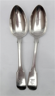 Antique Pair of Sterling Silver Victorian Fiddle Pattern Dessert Spoon 1843