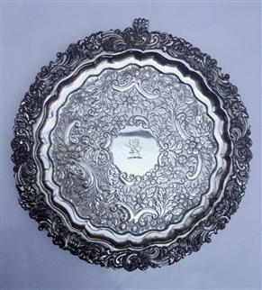 Antique Victorian Old Sheffield Plate Rococo Revival Pattern Salver Circa 1830
