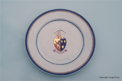 Chinese Porcelain Armorial Plate with DRUMMOND impaling FANE Family & Clan Arms. E.I.C. Qianlong Emperor 中国纹章瓷板乾隆帝