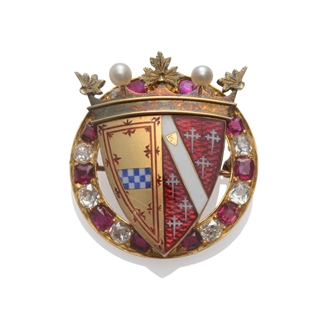 A rare and documented Victorian gold, enamel, diamond and ruby armorial brooch for the Third Marquess and Marchioness of Bute