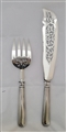 Antique Victorian Sterling Silver Old English Thread Pattern Pair of Fish Servers 1868