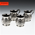 ANTIQUE 19thC RARE SET OF 4 GEORGIAN SOLID SILVER MUGS, LONDON c.1824