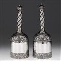 ANTIQUE 19thC INDIAN SOLID SILVER PAIR OF PRESENTATION BELLS c.1890