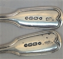 Antique Pair of Victorian Sterling Silver Hallmarked  Fiddle and Thread Victorian Salt Spoons 1845