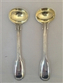 A Pair of Sterling Silver Hallmarked Victorian Fiddle and Thread Victorian Salt Spoons 1845