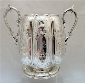 Antique Victorian Silver Plate Gilt Lined Rococo Chased Sugar Basin Circa 1860