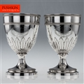 ANTIQUE 19thC PAIR OF GEORGIAN SOLID SILVER LARGE GOBLETS OF SCOTTISH INTEREST, RICHARD COOK c.1801