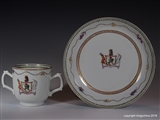 Chinese Armorial Porcelain Chocolate Cup & Saucer MACGREGOR Family Coat of Arms Crest Clan