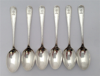 Six Antique Sterling Silver Hallmarked George V Feather and Acanthus Pattern Demi-Tasse Coffee Spoons 1831