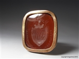 Superb Georgian Carnelian Fob Seal WILKINSON Crest family Coat Arms