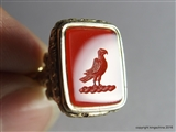Gold Georgian Intaglio Fob Seal Family PARROT Crest Arms