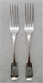 Pair of Antique Sterling Silver Hallmarked Victorian Fiddle Pattern Table Forks 1847