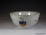 Chinese Armorial Porcelain Bowl GARLAND Family Coat Arms Crest