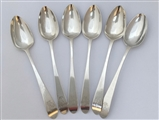 Set Six Irish Silver George III Silver Pointed End Dessert Spoons 1785/6