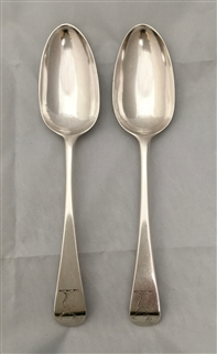 Pair Antique George III Silver Old English Pattern Tablespoons 1765