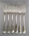 Antique Hallmarked Sterling Silver set of George III Silver Six Fiddle Pattern Table Forks 1817