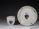 Chinese Armorial Porcelain Cup & Saucer GARLAND Family Crest Coat Arms
