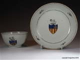 Chinese Armorial Tea Bowl & Saucer GARLAND Family Crest Coat Arms