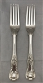 Pair Victorian Hallmarked Antique Sterling Silver Kings Pattern Table Forks 1853