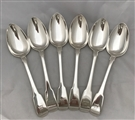 Set Six Antique George III Hallmarked Sterling Silver Fiddle Pattern Table Spoons 1808