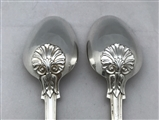 Pair Antique George IV Hallmarked Sterling Silver Kings Husk Pattern Tablespoons 1827