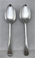 Pair Antique George III Scottish Sterling Silver Old English Pattern Dessert Spoons 1781