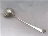 Antique George III Sterling Silver Old English Pattern  Shell Bowled Soup or Punch Ladle 1780