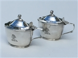 Rare and unusual pair of Antique Victorian sterling silver mustard pots