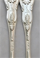 Antique Early Victorian Sterling Silver Pair Kings Pattern Dessert Forks 1841