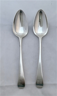 Two Antique George III Sterling Silver Old English Pattern Dessert Spoons 1802/3