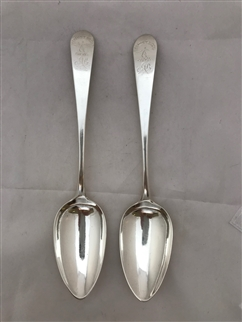Antique Sterling Silver Scottish George III Pair Celtic Point Pattern Tablespoons 1801