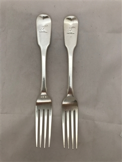 Antique Sterling Silver Pair George IV Fiddle Pattern Table Forks 1825