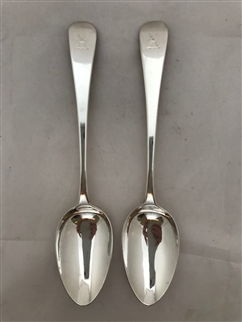 Antique Sterling Silver Pair George III Old English Pattern Dessert Spoons 1817