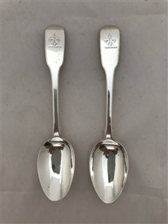 Antique sterling Silver Pair Victorian Fiddle Pattern Teaspoons 1838