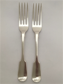 Antique Sterling Silver Pair William IV Fiddle pattern Dessert Forks 1836