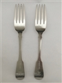 Antique Sterling Silver Pair Scottish George III Fiddle Pattern Table Forks 1828